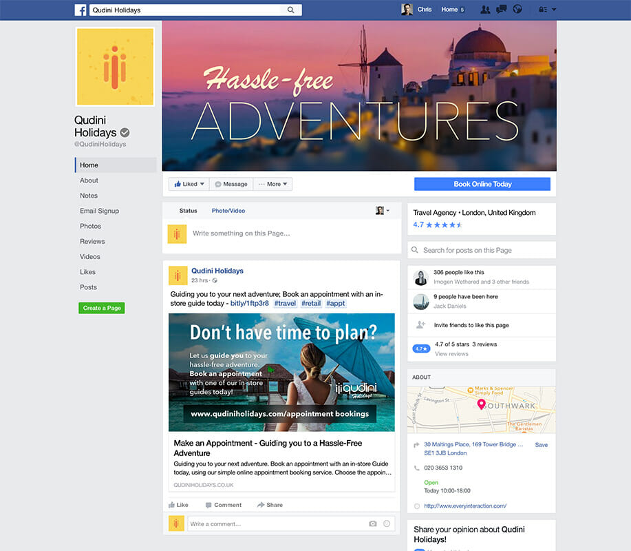 Travel Agency Facebook Appointment Promotion Qudini